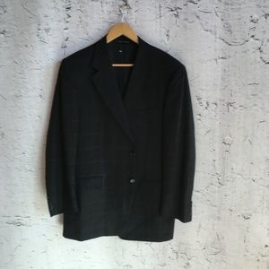 CANELI BLACK PLAID WOOL BLAZER 54